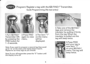 How to program or register a tag with the EZ-Find! transmitter