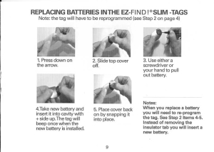 How to replace the batteries in the EZ-Find! slim tags.